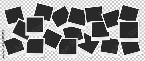 Collage of realistic vector photo frames isolated. Template retro photo design, Vector illustration