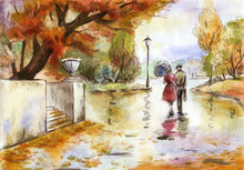 Watercolor Hand Drawn Painting Landscape With A Couple In The Autumn Park