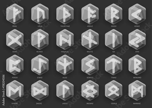 Photo  Set of stone runes. Vector illustration