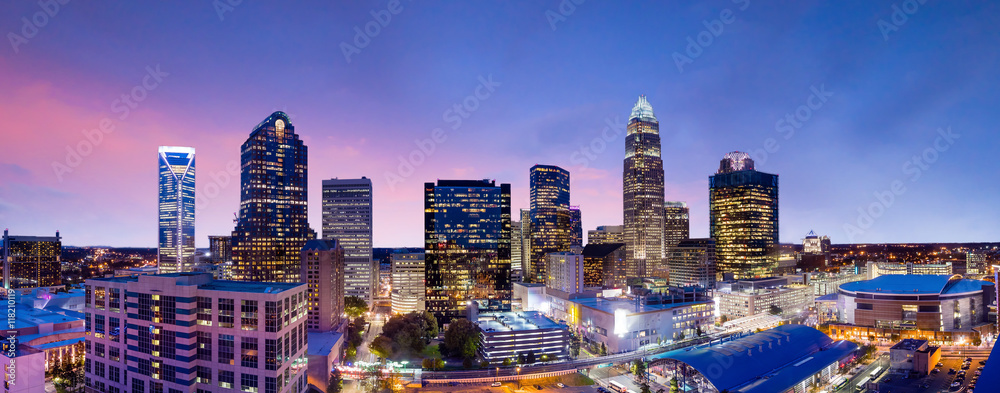 Fototapeta Skyline of downtown Charlotte in north carolina