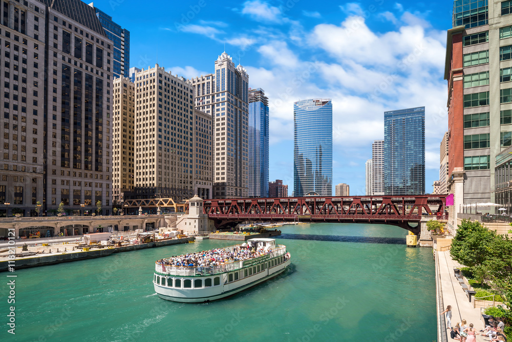 Fototapety, obrazy: The Chicago River and downtwn Chicago skylinechicago, river, lak