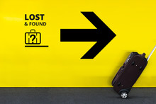 Airport Sign With Lost Found L...