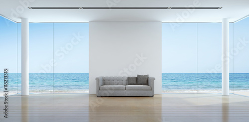 Fotografia, Obraz  Sea view living room interior in modern beach house - 3D rendering