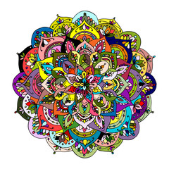 Panel Szklany Boho Mandala ornament, colorful pattern for your design