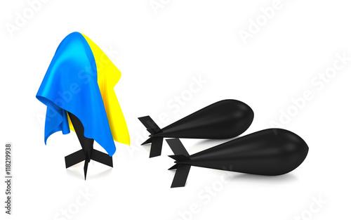 Photo  A bomb hidden under a Ukraine flag. 3D renderi