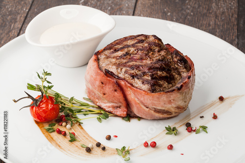 grilled fillet steak on an plate Canvas Print