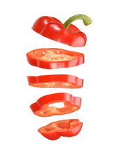 Sliced And Falling Red Pepper ...