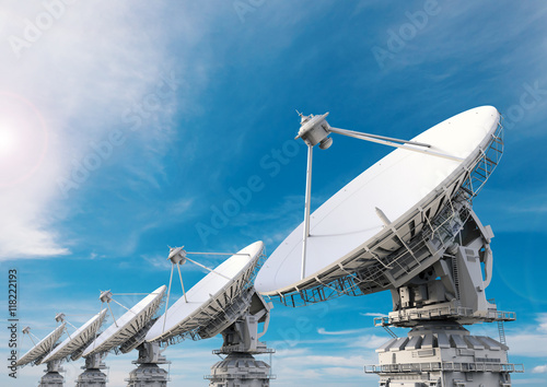 Photo  satellite dish in a row