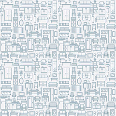 Vector seamless pattern background with home furniture outline icons 9