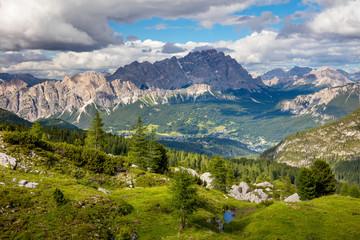 Fototapeta na wymiar Summer Mountain Landscape with big peaks of Dolomites and trees,