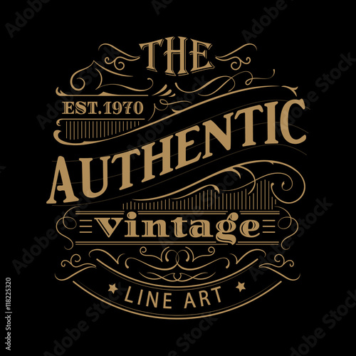 Vintage label western hand drawn antique frame typography vector Wallpaper Mural