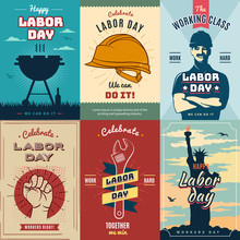 Labor Day. Set Of Vintage Poster For Celebration, Vector Illustration.