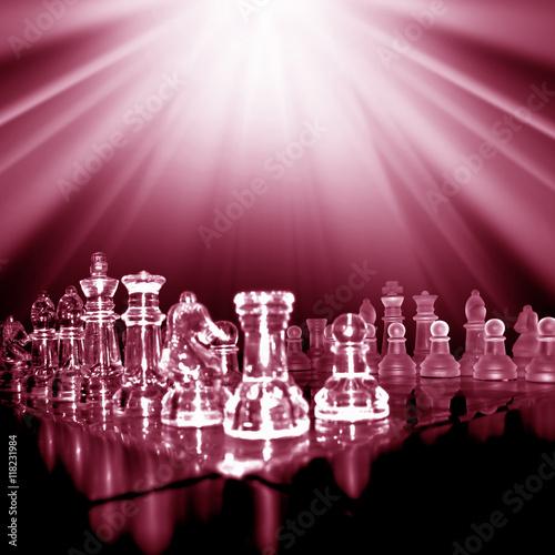 Fotografie, Obraz  glass chess board