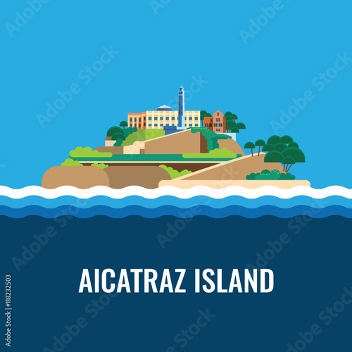 Photo Alcatraz island view from the sea. Vector illustration.