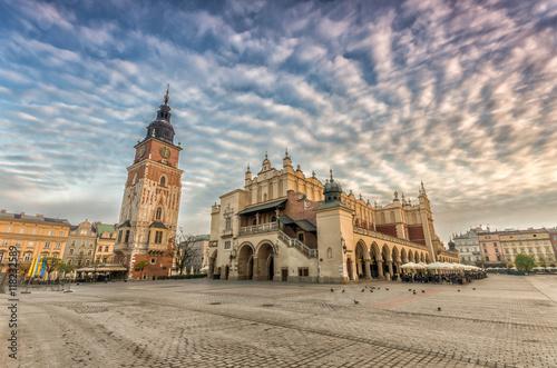 Fototapeta Cloth hall and town hall tower in the morning, Krakow, Poland obraz