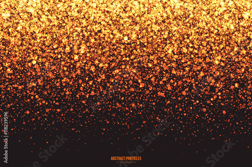 Obraz Abstract bright golden shimmer glowing round falling particles vector background. Scatter shine tinsel light explosion effect. Burning sparks. Celebration, holidays and party illustration - fototapety do salonu