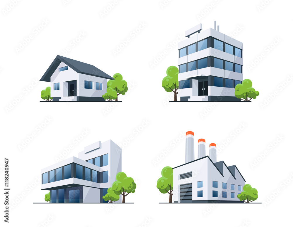 Fototapeta Set of Four Buildings Types Illustration with Trees
