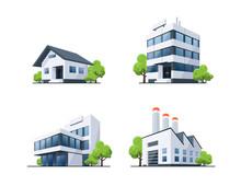 Set Of Four Buildings Types Il...