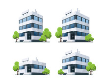 Office Vector Buildings Illustration With Trees