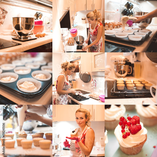 Collage of nine images with cooking cupcakes step by step Wallpaper Mural