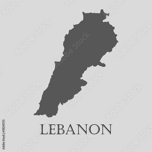 Photo Gray Lebanon map - vector illustration