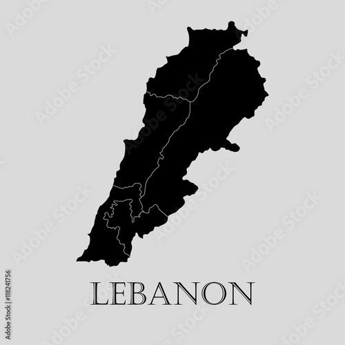 Canvas Print Black Lebanon map - vector illustration