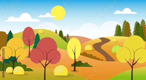 Wall Murals Green coral Autumn Landscape Forest Road Blue Cloud Sky Tree