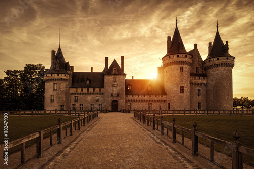 Old castle, Chateau of Sully-sur-Loire at sunset, France