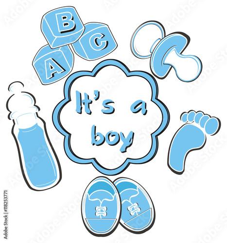 blocks, pacifier, bottle, milk,footprint, booties, blue ...