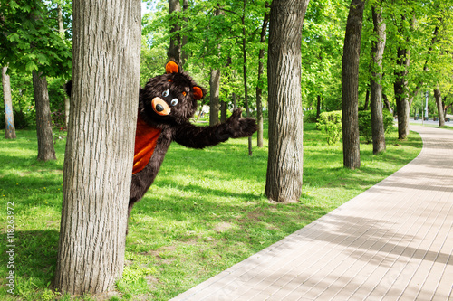 Fotografía  actor dressed as bear peeking out from behind a tree in a park with lots of tree
