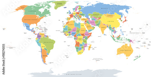 Fotografía  World single states political map with national borders