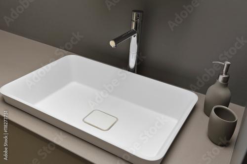 Fotografía  lavabo salle de bain avec robinet mitigeur