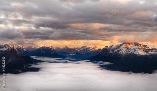 Foto op Aluminium Zalm Landscape view of mountain range at sunrise, Alberta, Canada
