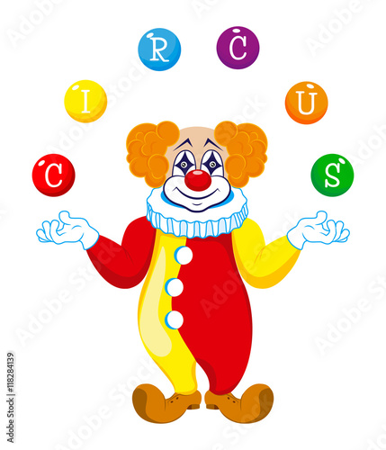 Fotobehang Beren A clown juggles balls with the word circus