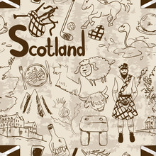 Retro Sketch Scotland Seamless Pattern.