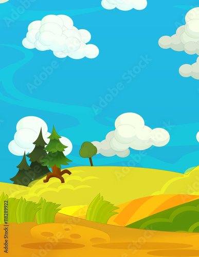 Aluminium Prints River, lake Cartoon happy and funny nature scene - empty stage for different usage - illustration for children