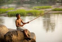 African American Boy Fishing I...