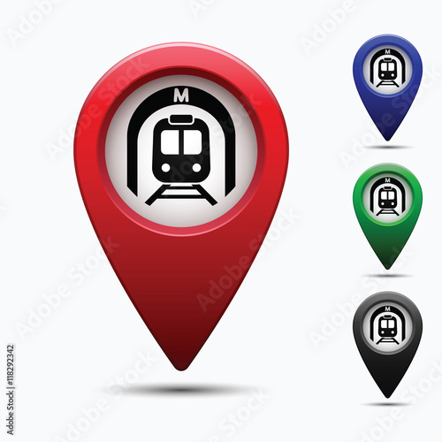 Colored Map Pointer With Symbol Subway For Location Maps Mark Icon