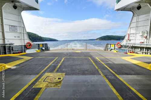 Empty cargo hold of ferry boat, Puget Sound, Washington, United States