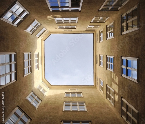 Montage in der Fensternische Barcelona Low angle shot of building with windows