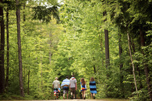 Friends Walking On Dirt Path In Forest