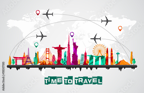 Fotografia  Travel and tourism of silhouettes icons background