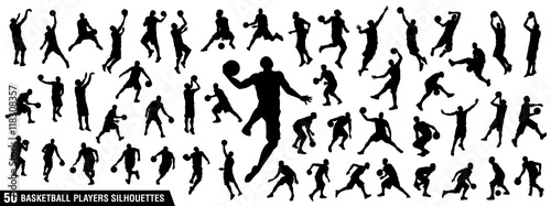 Vector set of Basketball players silhouettes, Basketball silhouettes Wallpaper Mural