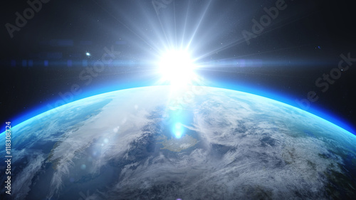 Spoed Foto op Canvas Stadion Sunrise over earth as seen from space. With stars background. 3d rendering