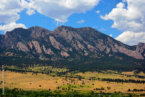 Flatirons Mountains in Boulder, Colorado on a Sunny Summer Day