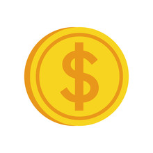 Coin Gold Money Market Icon. Isolated And Flat Illustration.
