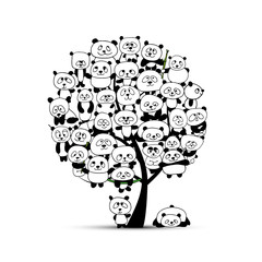 Panel Szklany Panda Tree with funny pandas, sketch for your design