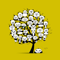 FototapetaTree with funny pandas, sketch for your design