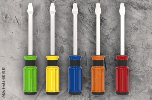 Pinturas sobre lienzo  3d rendering colorful screw drivers