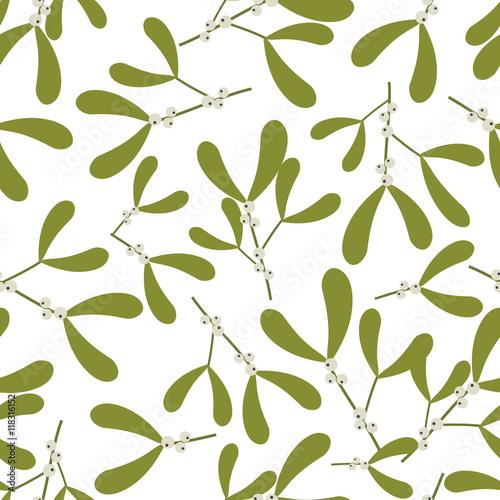Cotton fabric Seamless christmas background with mistletoe design